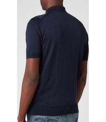 john smedley men's payton 30 gauge merino polo shirt - midnight - xxl