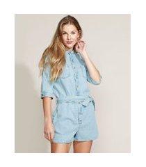 macaquinho jeans feminino com bolsos e faixa para amarrar manga 3/4 azul claro
