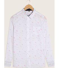 blusa estampada, con bolsillo , manga larga blanco xxl