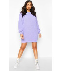 plus crew neck sweater dress, lilac