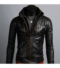 men's leather jackets korean style casual slim fit, biker leather jacket mens