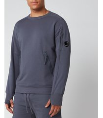 c.p. company men's front zip pocket sweatshirt - ombre blue - xxl