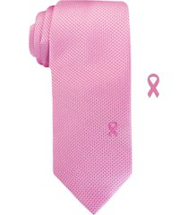 susan g komen men's slim textured grid tie with lapel pin