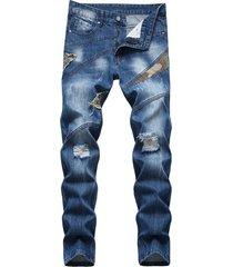 moda para hombre camo patchwork ripped jeans
