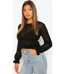knitted peplum frill edge top, black