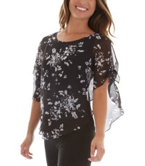 bcx juniors' floral lattice back popover shoulder blouse