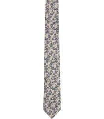 krawat kwiaty beż 100