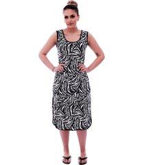 camisola ficalinda longuete de alça com viés preto em estampa animal print de zebra. - kanui