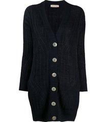 gentry portofino fine knit longline cardigan - blue