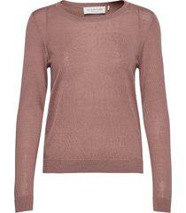 merino pullover ls stickad tröja rosa rosemunde