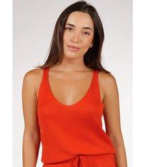 regata pink tricot bã¡sica de tricot modal decote v feminina - cobre/coral/laranja/ruivo/unico/vermelho - feminino - viscose - dafiti