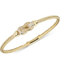 diamond interlocking braided bangle bracelet (1/5 ct. t.w.) in 18k gold-plated sterling silver