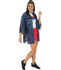 blusa kimono fila summer - feminina - azul escuro