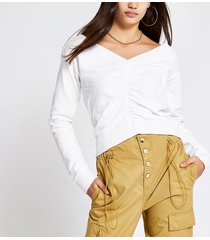 river island womens cream ruched v neck cropped sweatshirt