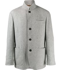 brunello cucinelli short single breasted coat - grey