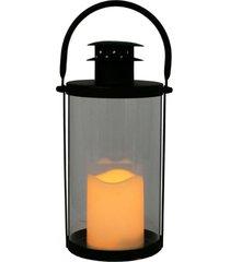 lanterna de metal e vidro com vela de led
