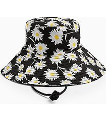 daisy print wide bucket hat - multi