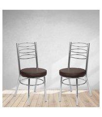 cadeiras para cozinha cromadas marrom lilies móveis