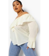 plus off shoulder blouse met ruches en wijd uitlopende mouwen, ivory