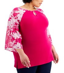 jm collection plus size contrast-sleeve keyhole tunic, created for macy's