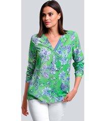 blouse alba moda groen::blauw