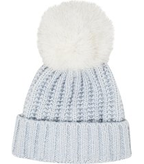 women's kyi kyi beanie with genuine fox fur pom - blue