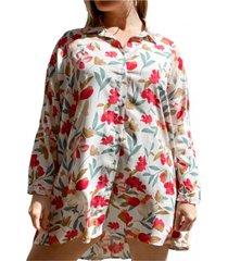 camisa natural odas oversize flores