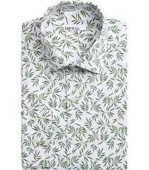 bar iii men's slim-fit tossed leaf-print dress shirt, created for macy's