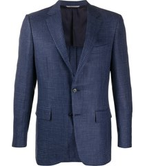 canali textured woven blazer - blue