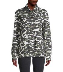 monrow women's camo-print spread collar jacket - evergreen - size m