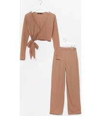 womens that's a wrap wide-leg pants lounge set - camel