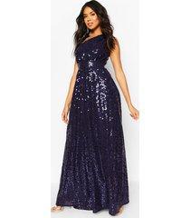 bridesmaid occasion shoulder sequin maxi dress, navy