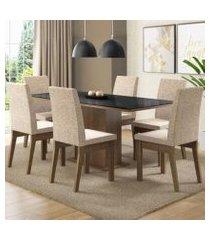 conjunto sala de jantar madesa aurora mesa tampo de vidro com 6 cadeiras rustic/preto/fendi