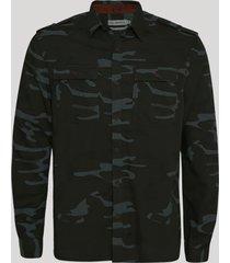 camisa de sarja masculina estampada camuflada com bolsos manga longa militar