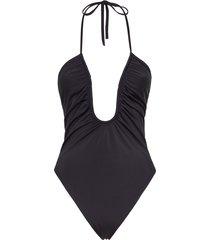 fendi u-neck ruched swimsuit - black