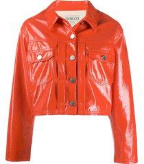 fiorucci berty vinyl crop jacket - orange