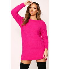 fluffy slouch knitted sweater dress, fuchsia