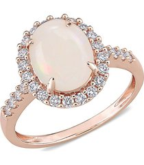 saks fifth avenue women's 14k rose gold, opal & white diamond ring/size 5 - size 5