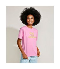 "t-shirt feminina mindset trust your feelings"" manga curta decote redondo rosa"""