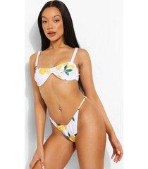 citroenen bikini top met vierkante hals en beugel, white