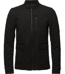 city microfibre quilt jacket doorgestikte jas zwart superdry