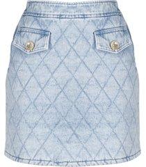 alessandra rich denim quilted mini skirt