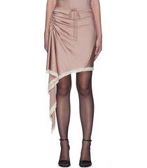 lace trim ruched asymmetric satin skirt
