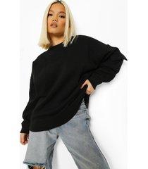 petite cargo oversized sweater, black
