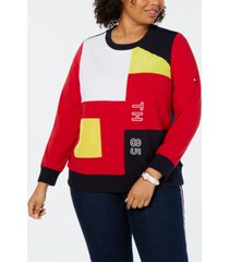 tommy hilfiger plus size colorblocked graphic sweatshirt, created for macy's
