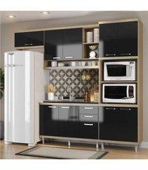 cozinha compacta completa multimã³veis com 4 peã§as sicãlia 5828 argila/preto - bege/incolor - dafiti