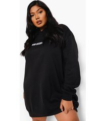 plus new season sweatshirt jurk met capuchon, black