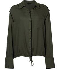 camisa dudalina manga longa amarração quadril feminina (verde militar, 44)
