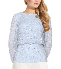 adrianna papell blouson sequined blouse