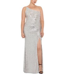 xscape plus size sequined one-shoulder gown